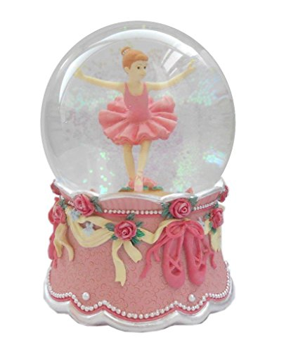 Lightahead 100MM Ballerina.Dancing Ballet Girl Music Water Globe with Inside Figurine Rotating playing tune Top Decoration