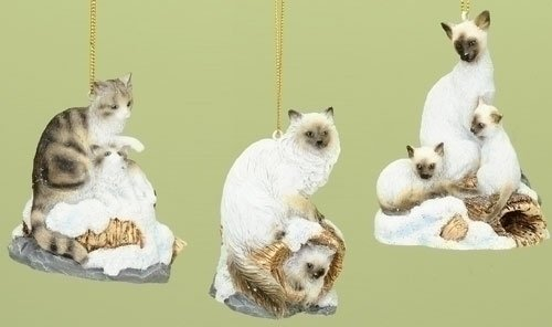 Set of 3 ASSORTED REALISTIC CAT or KITTEN ORNAMENTS (3.25″)