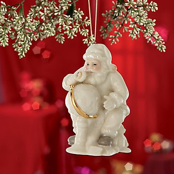 Lenox Christmas China Ornaments ~ Santa with Globe