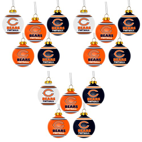 NFL Chicago Bears Plastic Christmas Ball Ornament 5 Pack Bundle 3 Pack By Forever Collectibles