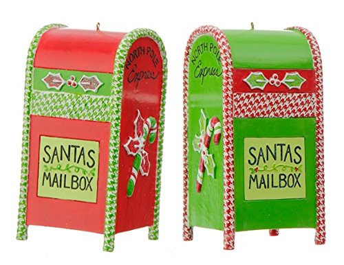 Raz 5″ Red & Green Mailbox Resin Christmas Ornaments Set of 2