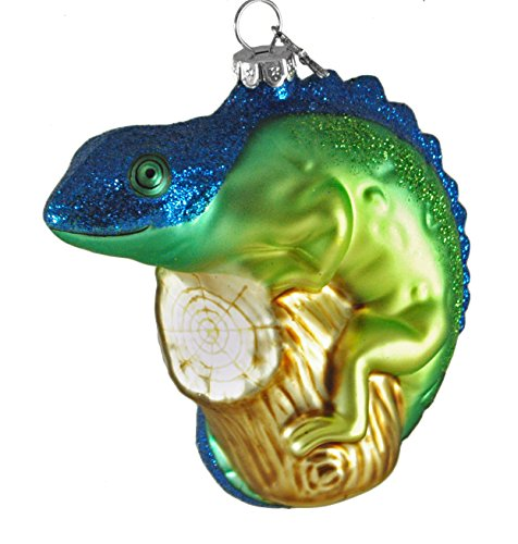 Lizard Iguana Chameleon Glass Glitter Hanging Christmas Ornament