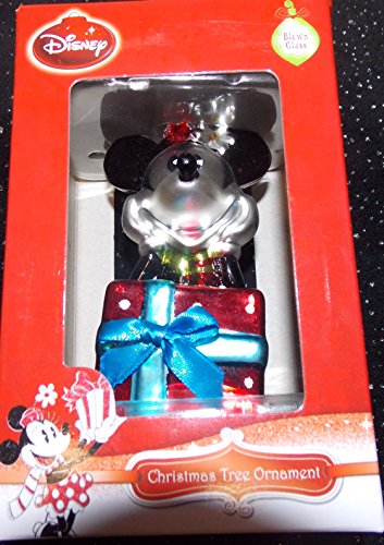 Disney Blown Glass Minnie Mouse with Red Christmas Present Christmas Tree Ornament