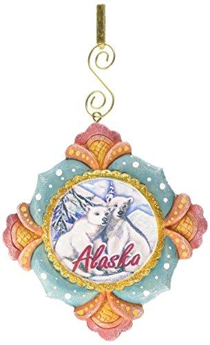 G. Debrekht Alaska Polar Bear Scenic Ornament, 3.5″