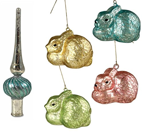 Bethany Lowe Pastel Mercury Glass Easter Bunny Ornaments and Blue Tree Topper