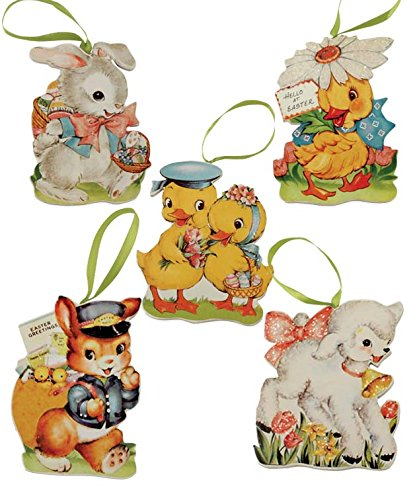 Bethany Lowe Retro Image Easter Die Cut Ornaments Set of 5
