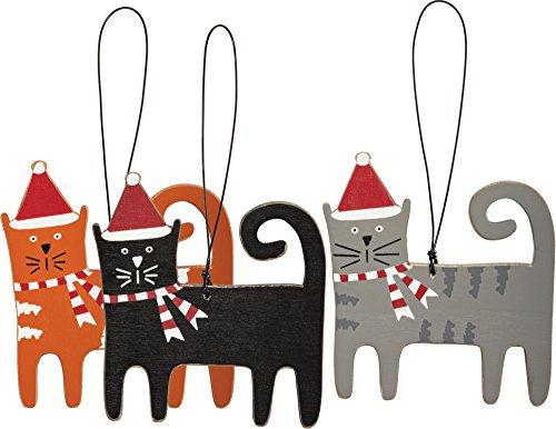 Christmas Cat Ornaments SIZE: 3.25″ x 3.50″ set of 3