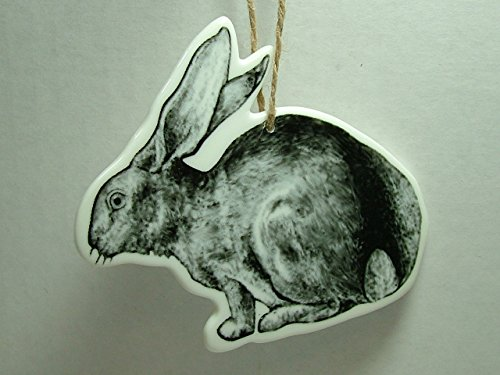 Ceramic Jack Rabbit Woodland Animal Bunny Tail Fur Foot Christmas Tree Ornament