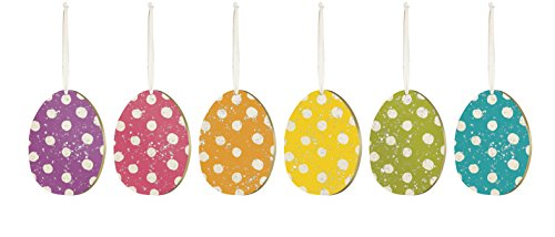 PBK Easter Ornaments – Spring Polkadots & Spots Glitter Eggs Set of 6 #26477