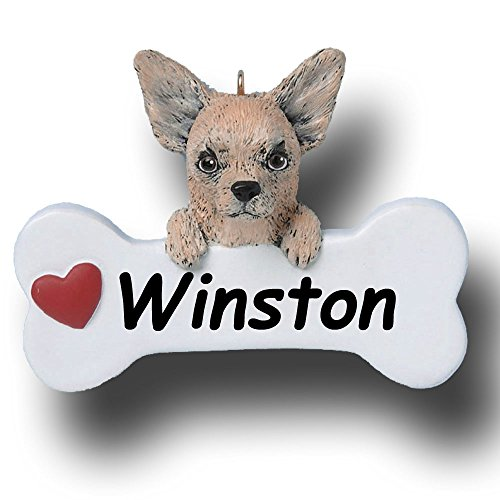 Personalized Chihuahua Dog and Bone Christmas Ornament – 3 inches