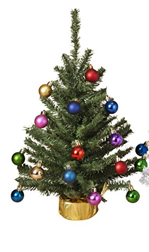 Small Tabletop Christmas Tree with Ornaments Holiday Decoration (Green)