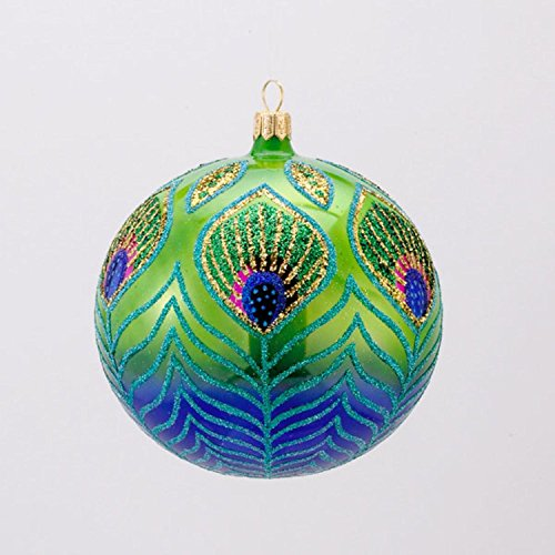 David Strand Designs Glass Blue and Green Peacock Christmas Ball Ornament 4″