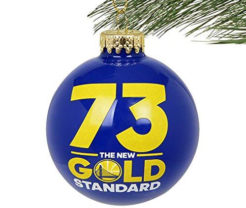 """Golden State Warriors NBA 2016 """"73 Wins- The New Gold Standard"""" Glass Ball Christmas Ornament-2 5/8″"""