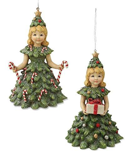 Bethany Lowe Christmas Tree Girl Ornaments – Set of 2