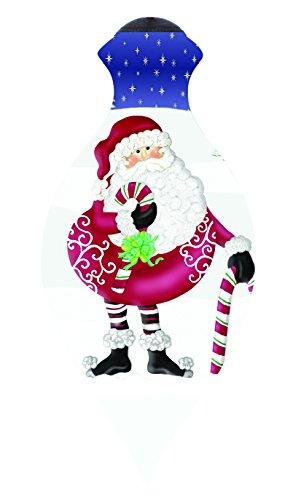 "Ne'Qwa Art, Christmas Gifts, ""Noel Santa"" Artist Eileen Rosenfeld, Brilliant-Shaped Glass Ornament, #7151135"