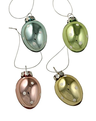 Bethany Lowe Mini Glass Pastel Polka Dot Easter Egg Ornaments, Set of 4