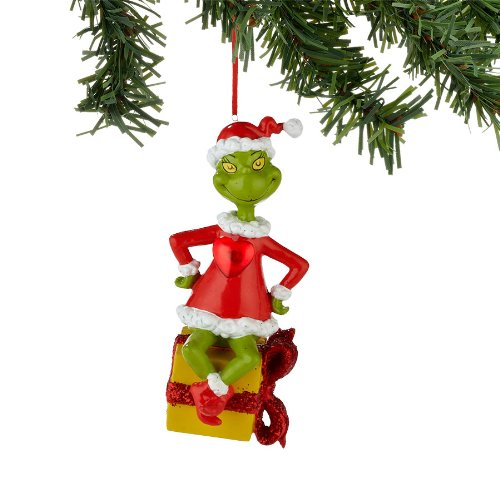 GRINCH Lit Christmas Ornament Dr Seuss Dept 56 RED HEART LIGHTS UP & Flashes NEW
