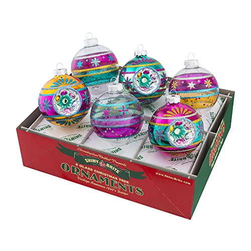 Shiny Brite Vintage Celebration Decorated Rounds with Reflectors – Set of Six