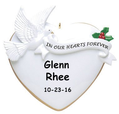 """Personalized """"In Our Hearts Forever"""" Memorial Remembrance Christmas Ornament with Name – 3.5 Inches"""