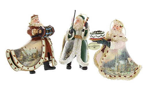 Thomas Kinkade Old World Santa Ornaments (Set of 3) Issue #12