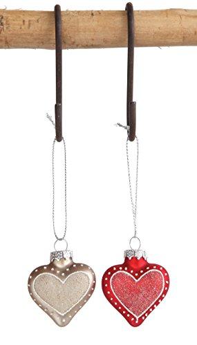 Creative Co-Op 4″H Glass Heart Ornaments (Set of 4)