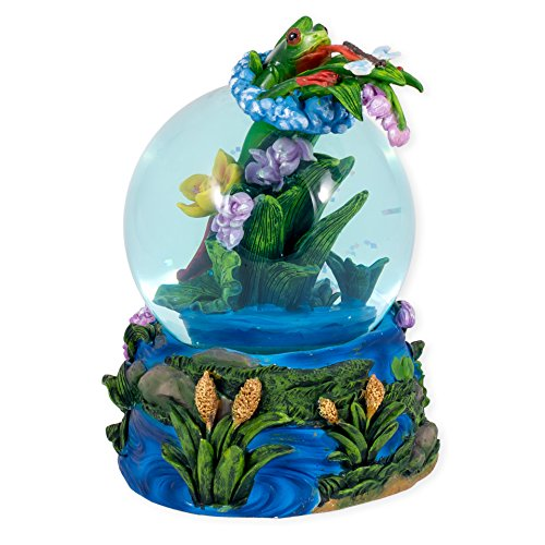 Green Frog Catching Dragonfly Glass Musical Snow Globe Plays Song Someday My Prince Will Come