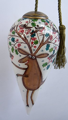 "Ne'Qwa Art "" Feeding the Birds"" – Glass Ornament Hand-Painted Artist Clare Mackie"