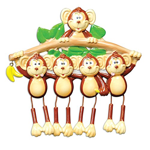 Monkey Family 5 Personalized Christmas Tree Ornament