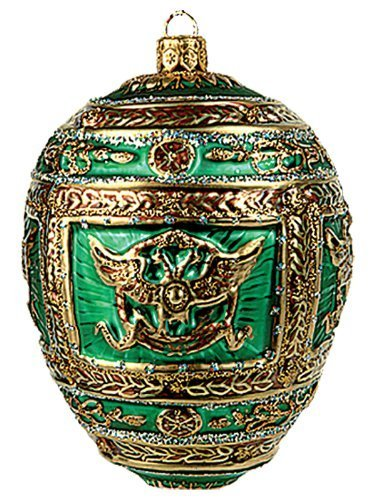 Faberge Inspired Green Napoleon Egg Polish Glass Christmas or Easter Ornament by Pinnacle Peak Trading Company