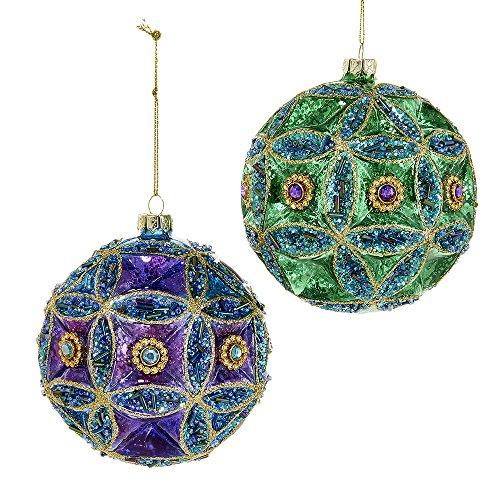 Kurt Adler Set of Two 100mm Glass Peacock Jewel Ball Ornaments