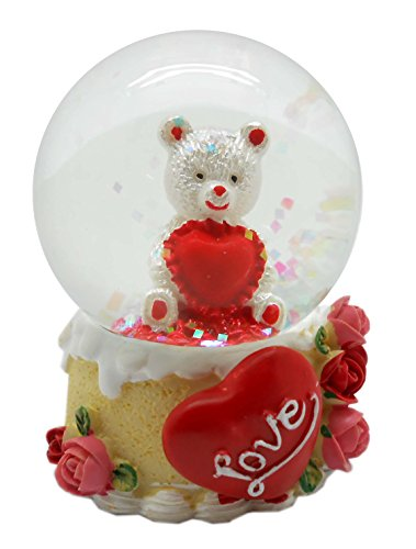 Lightahead 45MM Valentine Water Globe Polyresin Waterball Table Top Decoration Valentine Day Gifts (Teddy Bear)