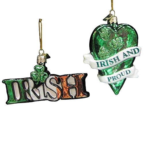Kurt Adler 4-inch Noble Gems Glass Irish Ornaments, Set of 2