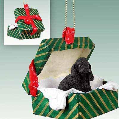 Conversation Concepts Cocker Spaniel Black Gift Box Green Ornament