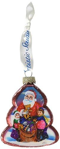 G. Debrekht Gift Giving Santa Glass Ornament