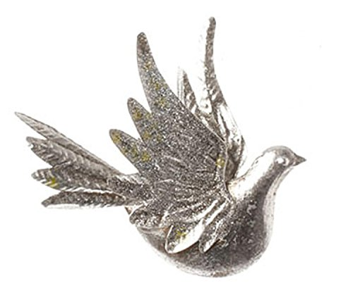8.25″ Silver Antique-Style Dove Bird with Glittered Wings Christmas Ornament