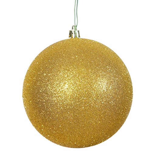 Vickerman N591008DG Glitter Ball Ornaments with Shatterproof UV Resistant, Pre-drilled cap Secured & 6″ of Green Floral Wire in 6 per bag, 4″, Gold