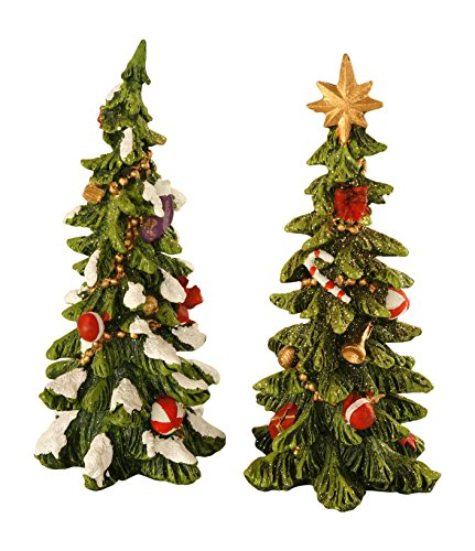 Set of 2 6-Inch Glittered Resin Christmas Trees – Tabletop Holiday Decorations