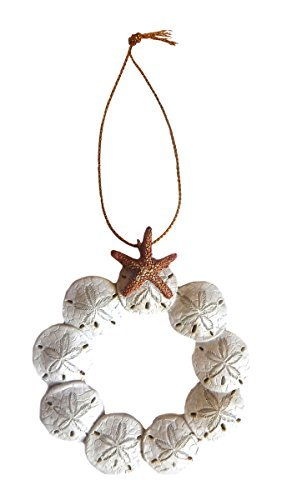 Resin Sand Dollar Wreath Christmas Ornament with Starfish Top by Beachcombers