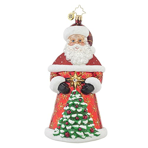 Christopher Radko Crimson Nick Santa Glass Christmas Ornament – 7.5″h.