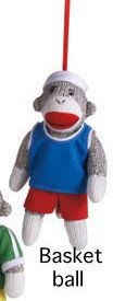 Sock Monkey With Basketball Jersey Ornament by Midwest CBK
