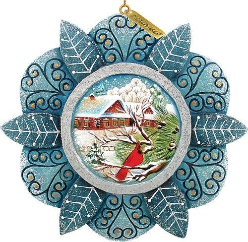 G. Debrekht 3-1/2 Inch Cardinal Snowfall Scenic Ornament