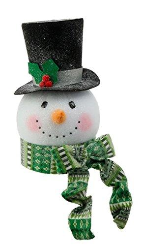 RAZ Imports – Tinsle Tangle – 15″ Snowman Head Ornaments/Decoration/Tree Topper (Green Scarf)