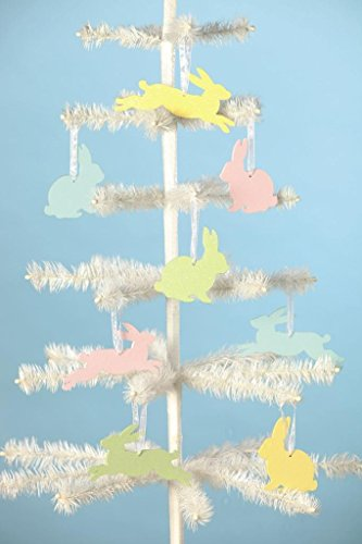 Bethany Lowe 8 Pressed Paper Easter Bunny Spring Ornament Set