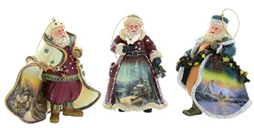 Thomas Kinkade Old World Santa Ornaments (Set of 3) Issue #5