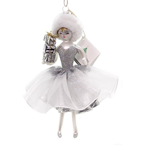 De Carlini LADY WITH SILVER DRESS & PACKAGES Ornament Italian Party Do7311bg