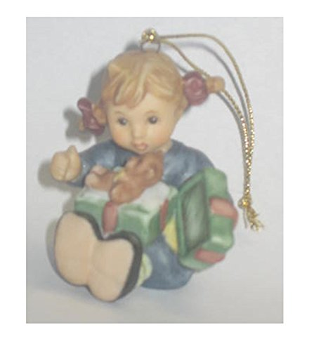 Goebel Berta Hummel 2002 Christmas Ornament Girl with Teddy Bear Present – Miniature 2″