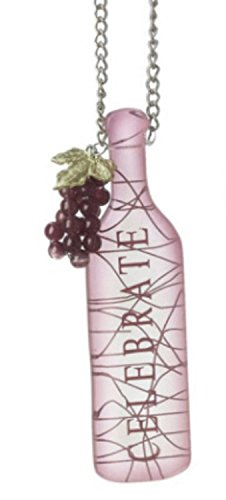 """Tuscan Winery """"CELEBRATE"""" Wine Bottle with GrapesTag Christmas Ornament 5″"""