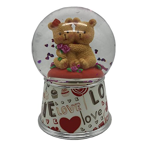 Lightahead 100MM Polyresin water globe with Falling Glitter & music playing Water ball Table Top Decoration ValentineDayGifts (Love Bears)