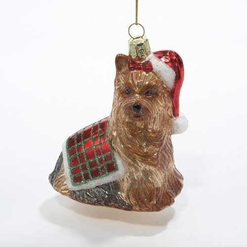 Kurt Adler 3-1/2-Inch Noble Gems Glass Yorkshire Terrier Ornament