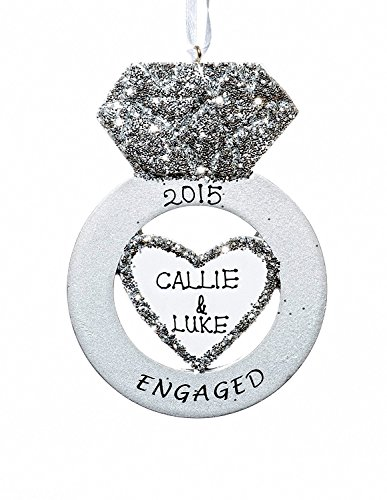 Christmas Holiday Engagement Ring Ornament-Free Name Personalized-Shipped In One Day